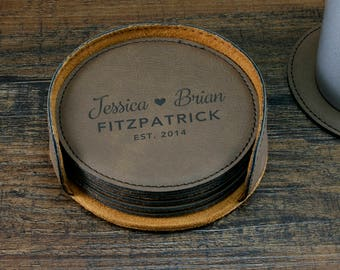 Personalized Leather Coasters, Engraved Coaster set, Custom Coasters, Personalized Couples Gift, Home Decor, Family Name Gift, Wedding Gift