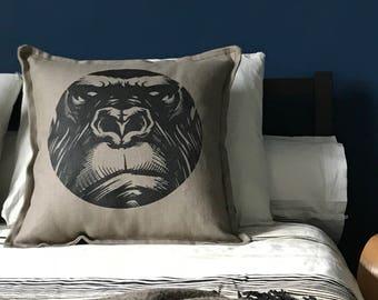Pattern Gorilla grey-beige linen Cushion cover