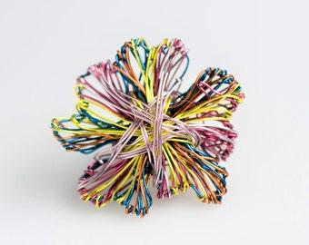 Flower brooch, lemon yellow purple, art jewelry, wire sculpture, abstract flower, cute pin, unique birthday gift women, boho, Christmas gift