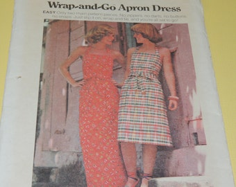 Uncut Sz S Wrap and Go Apron Dress Butterick 4231