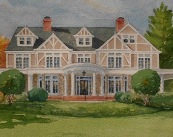 Custom Home Watercolor Portrait