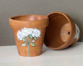 Herb Painted Clay Pot Garden Gift