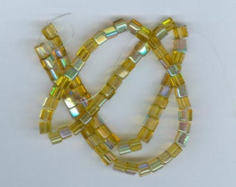 Yellow Cube Beads, 4mm Yellow AB Glass Cube Spacer Beads Square Bead Spacers