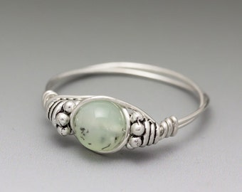 Chrysoprase w/Dendrites Bali Sterling Silver Wire Wrapped Bead Ring - Made to Order, Ships Fast!