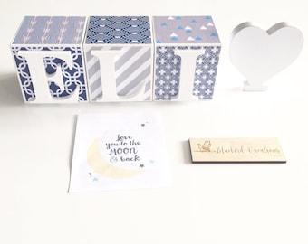 Personalised Name Blocks, Wooden Name Blocks- Letter Blocks- Age Blocks- Baby Shower Gift, baby boy, blue and grey, chevron, nautical theme