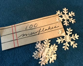 Snowflake Confetti From Vintage Book Pages