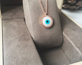 Evil eye necklace, mother of pearl charm necklace, rose gold clover necklace, hamsa evil eye necklace, rose gold necklace, nazar necklace