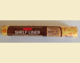 Reserved for Kristen, Vintage Rubbermaid Shelf Liner With Tack Back Adhesive Hippie Flower Power Decor