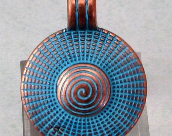Boho Pendant With Bail, Antique Copper & Blue Patina, AC198