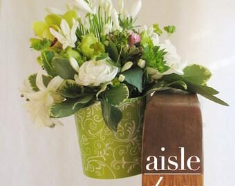 6 Pew Clips & Flower Pots: Wedding Ceremony VASE with PEW CLIP, Pew Cone, Church Pew Decoration, Aisle Marker, Centerpiece Decoration, Pail