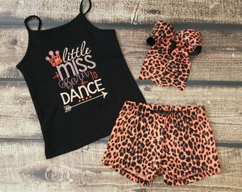 Girls Dance Top and Shorts,Girls Dance Top, Girls Dance Shorts, Dancewear,Girls Dancewear,Dance Outfit,Girls Dance Outfit, Leopard Shorts