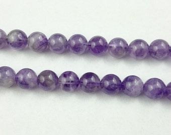 natural amethyst stone beads, amethyst gemstone, round purple crystal quartz stone beads 10mm 15'' strand
