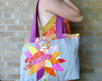 SALE Upcycled Tote or Market Bag Tropical Recycled Tree SALE