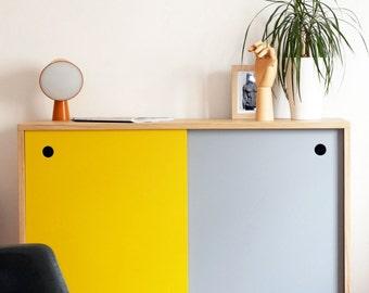 Small Scandinavian sideboard yellow and gray