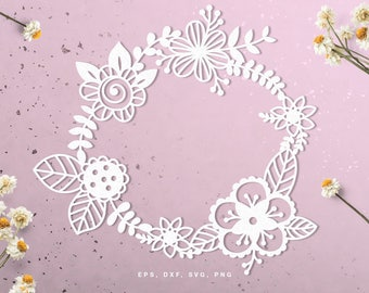 Floral wreath digital cut file (svg, dxf, png, eps) for Silhouette, Cricut, in paper crafting, scrapbooking projects, card making, stencils.