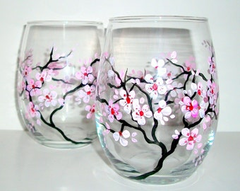 Hand Painted Wine Glasses Spring Wedding Cherry Blossoms  Set of 2 / 20 oz. Stemless Wine Glasses Wedding  Anniversary Pink Light Pink White