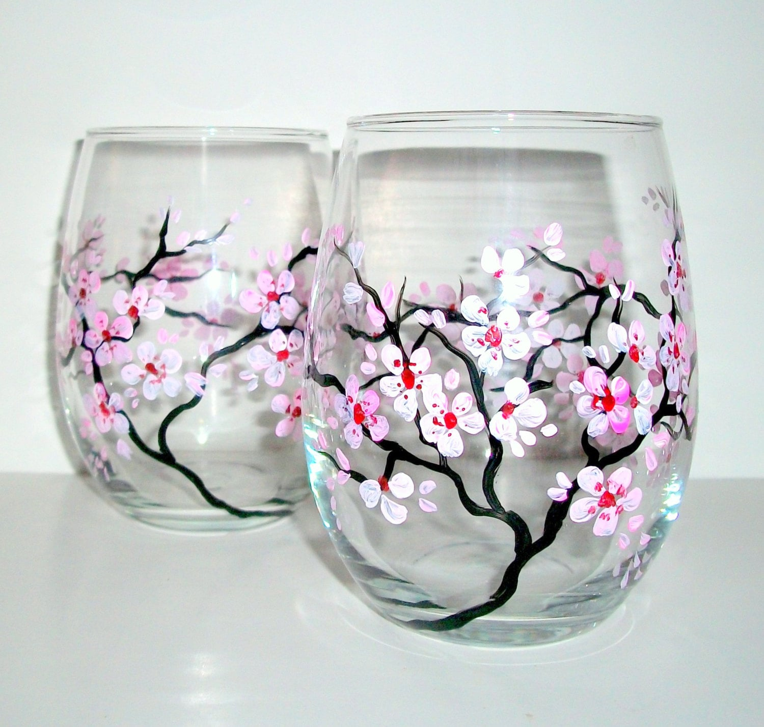 Hand Painted Wine Glasses Spring Wedding Cherry Blossoms Set