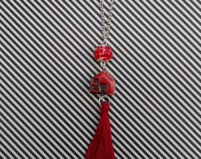 Red House Necklace With Tassel