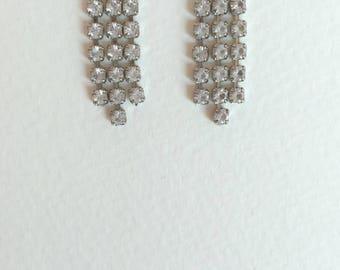 Vintage Rhinestone Dangle Earrings - Post Backs for Pierced Ears - Simple and Elegant Design - Rhinestone Earrings, Wedding, Prom, Gift
