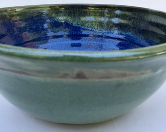 blue ceramic bowl, pottery bowl, cereal,  serving, handmade, wheel thrown, ready to ship