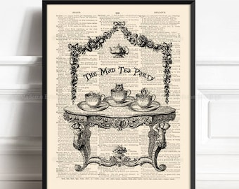 Tea In Wonderland, Alice Lover Gift, Alice Tea Time Party, Wife Birthday art, Lewis Carroll Print, Alice Quote Poster, Alice Nursery 103