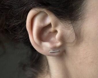 Silver bar earrings, silver line earrings, minimalist line earrings, edgy earrings