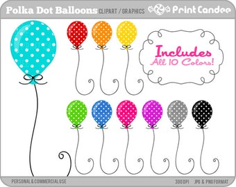 70% OFF SALE! - Polka Dot Balloons - Digital Clip Art - Personal and Commercial Use - birthday party colorful