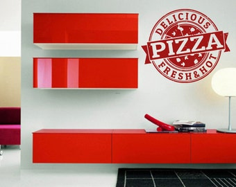 Wall Vinyl Sticker Decals Mural Room Design Pattern Pizza Slice Stamp Food   bo1362