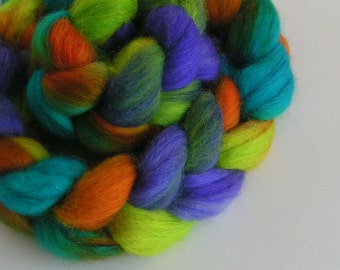 Fiber Roving Top BFL Silk Wool JAMAICA Top Hand Painted Blue Purple Green Wool Feature Spin Felt Craft Roving 4 ounces