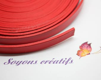 10cm Strip leather Red 10 mm - Creation jewelry