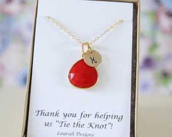 7 Initial Bridesmaid Necklace Coral, Bridesmaid Gift, Red Gemstone, Gold, Monogram Jewelry, Personalized, Initial Charm