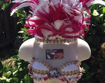 Tahitian & Cook Islands/Rarotongan Costume Set..I Bra Top, 1 Headpiece And 1 half Pareo.  Perfect For All Age Groups, Luau, Group, Soloist!