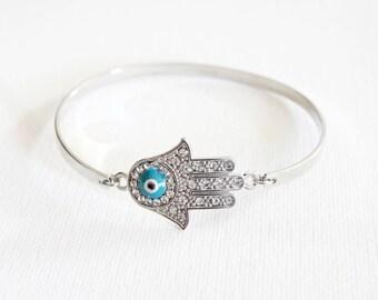 Silver Evil Eye Bangle Bracelet