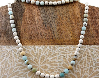 Long Beaded Necklace, Amazonite and Howlite Necklace, Gemstone Necklace, Multi-colored Necklace, 60 Inches