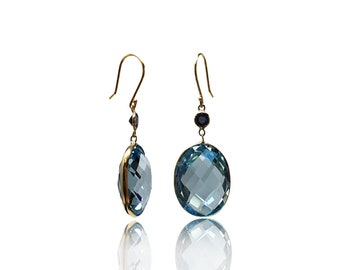 Natural 36 cttw Oval Blue Topaz Sapphire 14K Yellow Gold Dangle Earrings