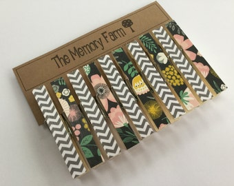 Clothesline Photo Display, clothespin set- Charcoal and pink floral