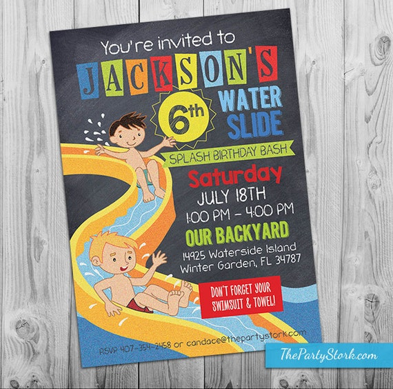Water Slide Party Invitation Printable Birthday Invite For