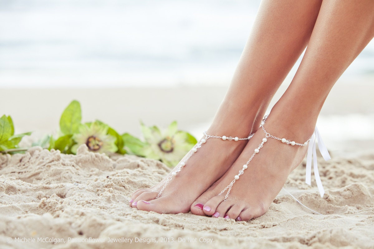 Pearl Foot Jewelry Bridal Barefoot Sandal Beaded Feet