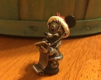 Walt Disney Mickey Mouse Christmas Pewter Figurine Ornament Santa List