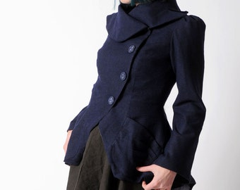 Dark blue Statement Jacket - Bustle Jacket in Navy blue thin wool - Assymetrical couture Coat, with ruffled back, sz UK 12, MALAM