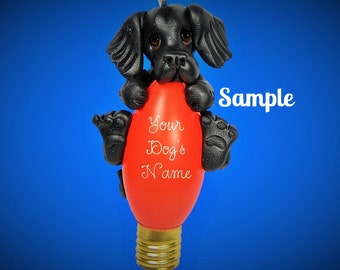 Black Flat-Coated Retriever Dog Christmas Holidays Light Bulb Ornament Sally's Bits of Clay PERSONALIZED FREE with dog's name
