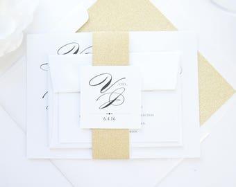 Gold Glitter Wedding Invitations, Gold Wedding Invitation, Gold and Black, Calligraphy Script Wedding Invitations - SAMPLE SET