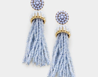 Periwinkle Seed Bead Tassel Earrings