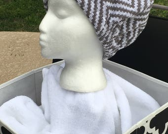 The CAP - GREY CHEVRON - Terry Cloth Head Wrap for Wet or Dry Hair