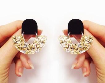 Laser Cut Dangle Glitter Studs - arch rainbow shape in black and gold silver glitter