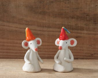 Ceramic Mouse with Party Hat, Birthday Party Mice, Unique Handmade Designs
