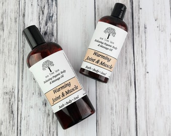 Organic Warming Muscle Massage Oil • 4 oz or 8 oz • Vegan Massage • Aromatherapy Oil • Arthritis • Soothing Muscle & Joint •