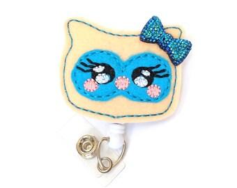 Cute Yellow Owl - Name Badge Holder - Felt Badge Reels - Unique Retractable ID Badge Holder - Feltie Badge Clips - Nurse Badge - BadgeBlooms