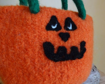 Pumpkin Purse - Hand knit & Felted - Made in the USA - Halloween Gift - Knit Purse