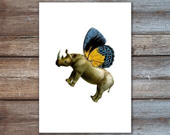 wall art print vintage rhino butterfly - animal print - vintage rhinoceros - art mixed media